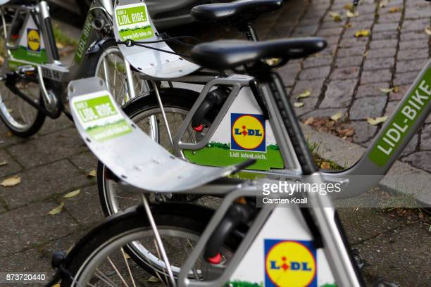 Bicycles of the sharing provider Lidl in cooperation with DB Deutsche Bahn stand on a sidewalk on November 13 2017 in Berlin Germany A number of...