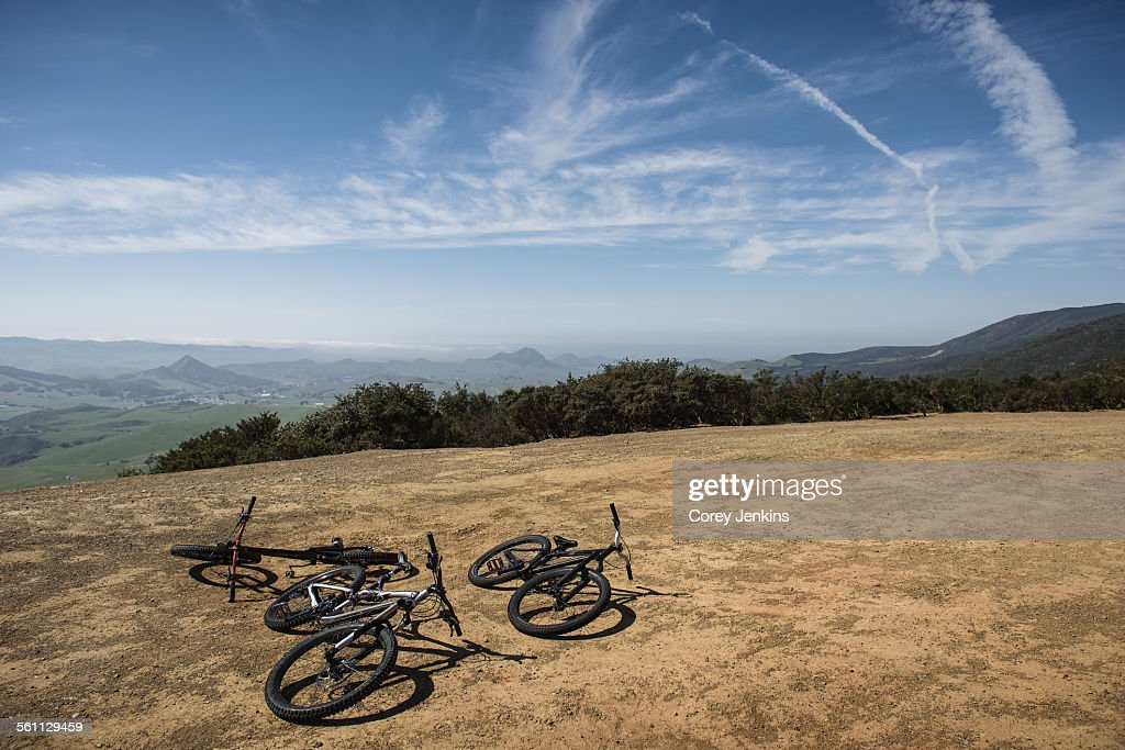 Bicycles on hill, San Luis Obispo, California, United States of America