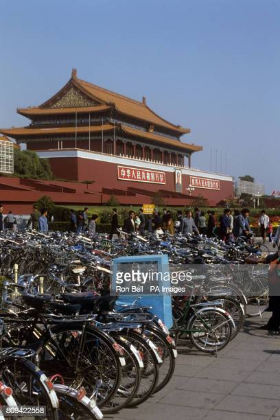 Bicycles outside the Forbidden City the Chinese imperial palace from the Ming Dynasty to the end of the Qing Dynasty in Beijing China