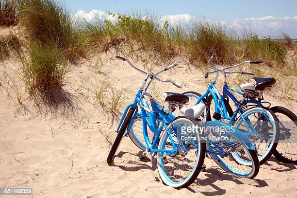 Bicycles Parked At Beach