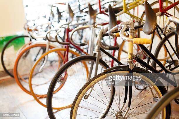Bicycles parked in a bike shop
