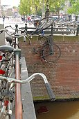 Bicycles parked on railing