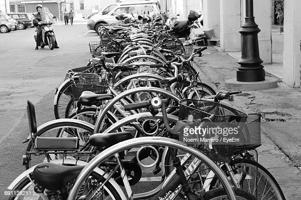 Bicycles Parked On Street