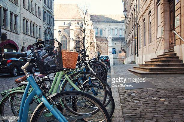 Bicycles parked on streets of Geneva