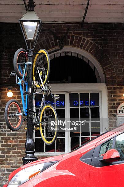 Bicycles parking on a lamp post in French Quarter