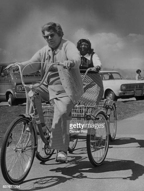 BicycleTest 'drivers' On The Road Enjoying a leisurely ride around Sloans Lake Thursday are Mrs Catherine Meis foreground and Mrs Hattie Anderson...