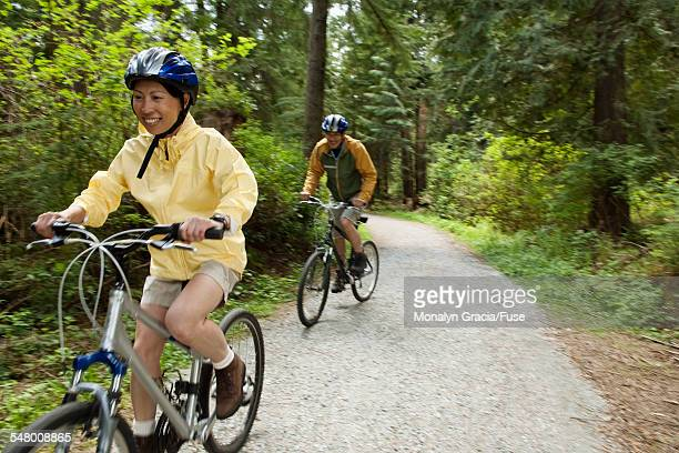 Bicycling couple