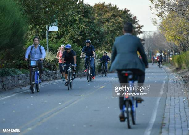 Bicyclists are seen on the bike path where two days ago Sayfullo Saipov an Uzbek immigrant drove a rental truck down for twenty blocks killing eight...