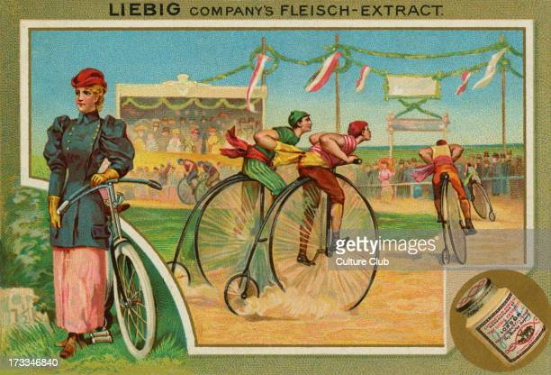 A bicyle / penny farthing race Liebig card Sports 1896