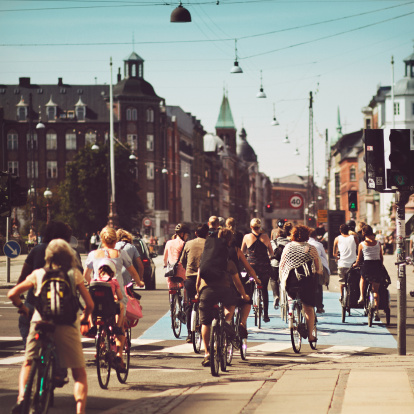 Bicyle riders on street in Copenhagen