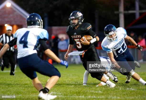 Biddeford hosts Westbrook in opener on Friday Carter Edgerton of Biddeford picks up yards after breaking away from Hayden Phelps of Westbrook