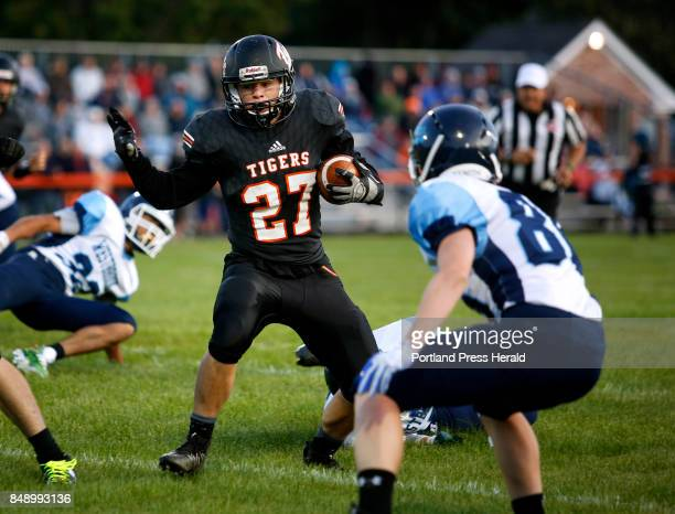 Biddeford hosts Westbrook in opener on Friday Curtis Petit of Biddeford cuts back to try and avoid Brayden Demers of Westbrook in the first quarter