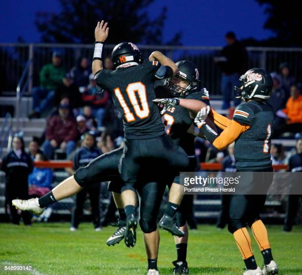 Biddeford hosts Westbrook in opener on Friday Zachary Reali of Biddeford center celebrates with teammates after scoring a touchdown in the second...