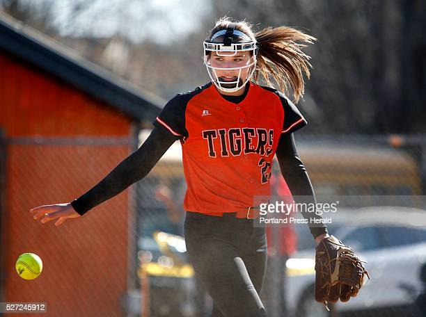 Biddeford pitcher Kirsten Lebreux tosses the ball after making the final out of the fourth inning at Biddeford's Rotary Park