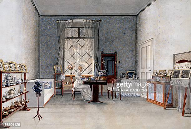 Biedermeier style drawing room watercolour by Franz von Maleck