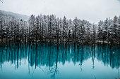 A beautiful winter view of Biei Bule Pond