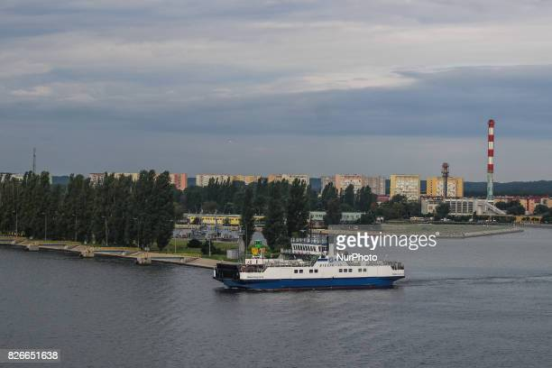 Bielik ferry connecting two banks of Swinoujscie city is seen on 30 July 2017 in Swinoujscie Poland