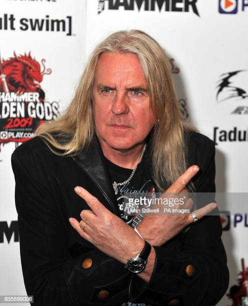 Biff Byford lead singer of the group Saxon arrives at the Indigo concert venue for the Metal Hammer Golden Gods awards at the O2 Arena in Greenwich...