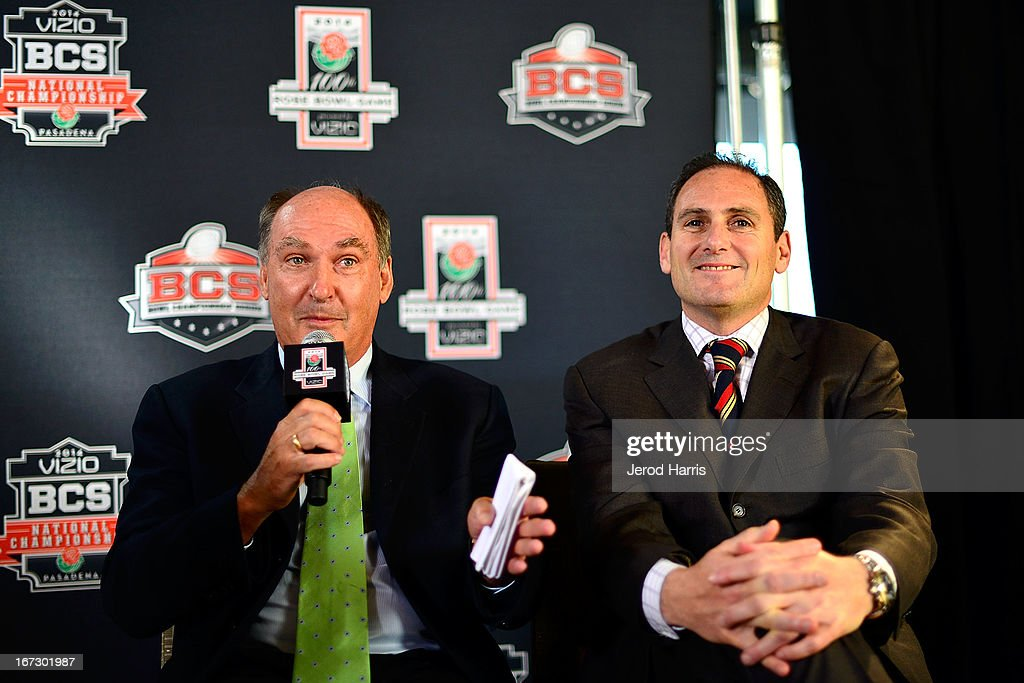 Big 10 Commisioner Jim Delany (L) and PAC 12 Commisioner Larry Scott attend the unveiling of the 100th Rose Bowl Game logo at Rose Bowl Stadium on April 23, 2013 in Pasadena, California.