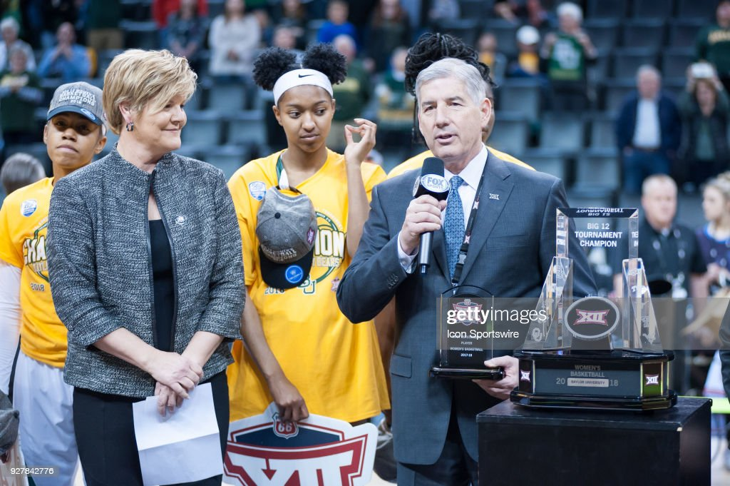Big 12 commissioner Bob Bowlsby presenting the trophy at the Texas vs Baylor game during the Big 12 Women's Championship on March 05, 2018 at Chesapeake Energy Arena in Oklahoma City, OK.