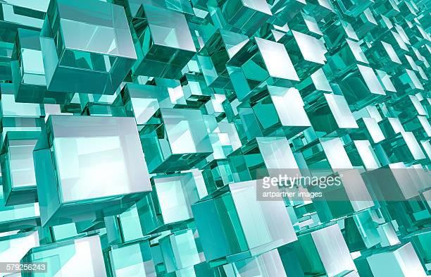 Big amount of glass cubes