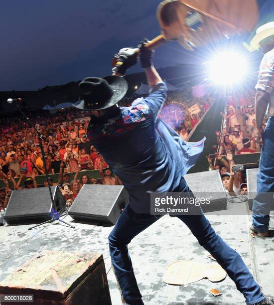 Big and Rich perform John Rich and Cowboy Troy during Kicker Country Stampede Day 1 at Tuttle Creek State Park on June 22 2017 in Manhattan Kansas