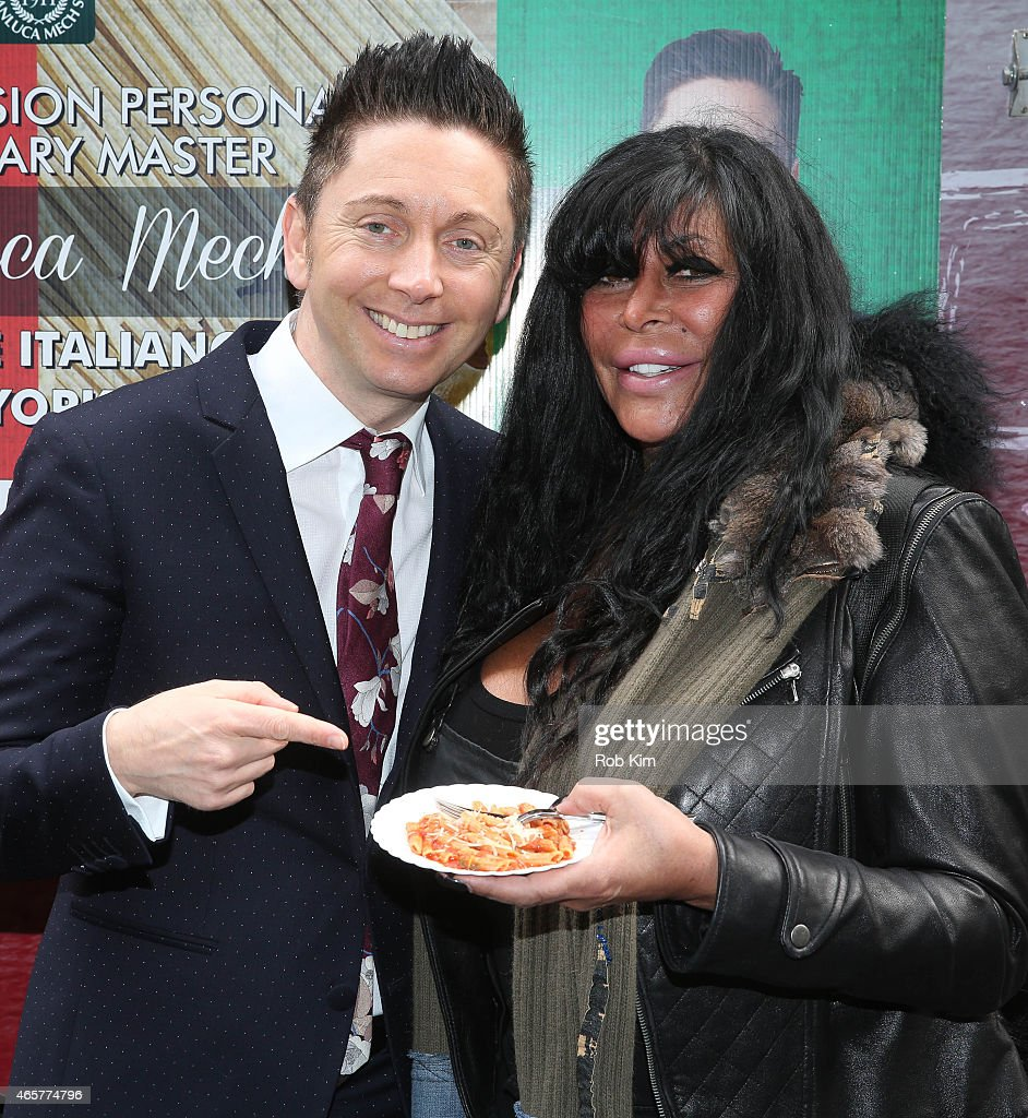 Big Ang of 'Mob Wives' and health food expert Gianluca Mech attend Italiano Diet Launch Event at Times Square on March 10 2015 in New York City