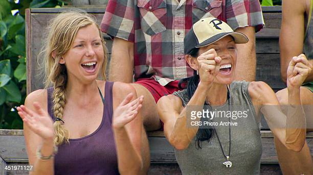 S BEACH WAIKIKI NOVEMBER 18 'Big Bad Wolf' Katie Collins and Monica Culpepper cheer on Tina Wesson during the Redemption Challenge on the tenth...