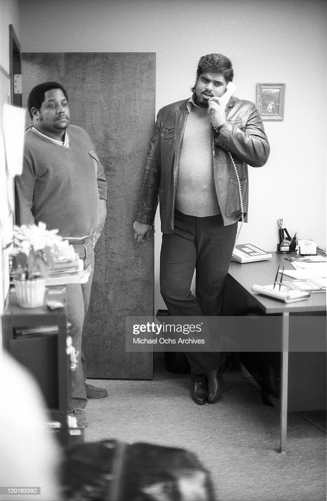 <a gi-track='captionPersonalityLinkClicked' href=/galleries/search?phrase=Big+Bank+Hank&family=editorial&specificpeople=2199135 ng-click='$event.stopPropagation()'>Big Bank Hank</a> and Wonder Mike of the pioneering rap group the Sugar Hill Gang poses for a portrait at Sugar Hill Records in January 1984 in Englewood, New jersey.