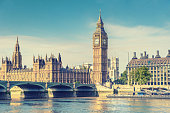Big Ben Clock Tower and House of Parliament, London, England, UK, vintage effect style