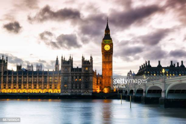 Big Ben and Houses of Parliament at dusk London England United kingdom Europe
