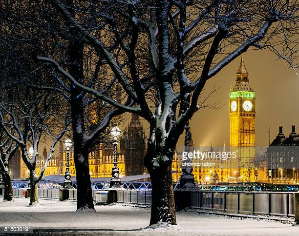 Big Ben and Houses of Parliament in snow