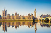 Big Ben and Houses of parliament at calm sunny morning