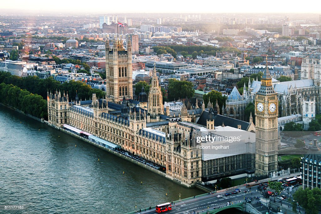 Big Ben and Houses of Parliament On River Thames, Dusk : Stock Photo