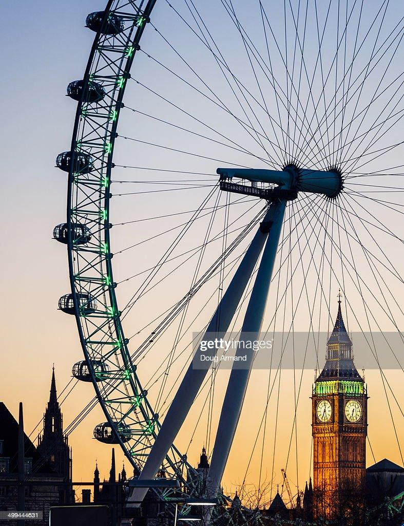 Big Ben and London Eye at dusk