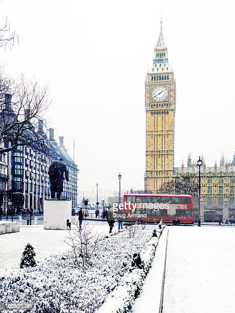 Big Ben and Parliament Square in snow