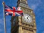 Union jack flagon pole  and Big Ben