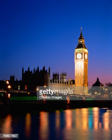 Big Ben and Westminster Abbey on Thames River in London, England : Stock Photo