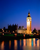 Big Ben and Westminster Abbey on Thames River in London, England