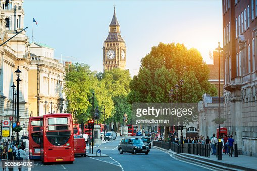 Big Ben and Whitehall from Trafalgar Square, London : Stock Photo