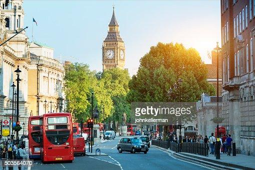 Big Ben and Whitehall from Trafalgar Square, London : Stock Photo