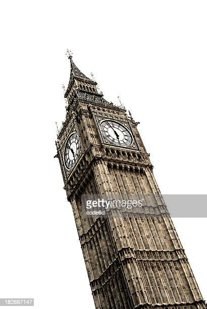 Big Ben clock tower, London, high key, white background