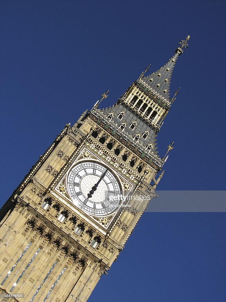 Big Ben clock tower - six o'clock : Stock Photo