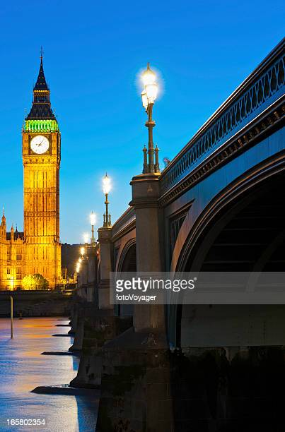 Big Ben illuminated night Westminster Bridge London UK