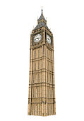 Big Ben isolated on white background. 3D render