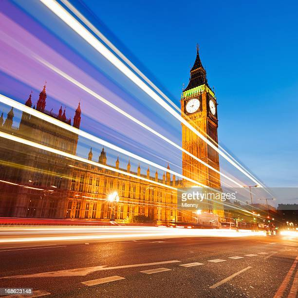 Big Ben London and at Night City Traffic