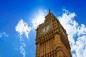 Big Ben London Clock tower close up in UK Thames river