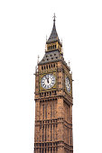 Big Ben tower isolated on white background (London, England).