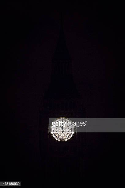 Big Ben strikes 2300 hours as the lights are turned off on iconic buildings as the city marks the centenary of the outbreak of World War On on August...