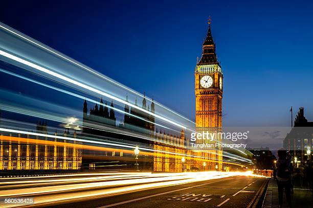 Big Ben with light trail